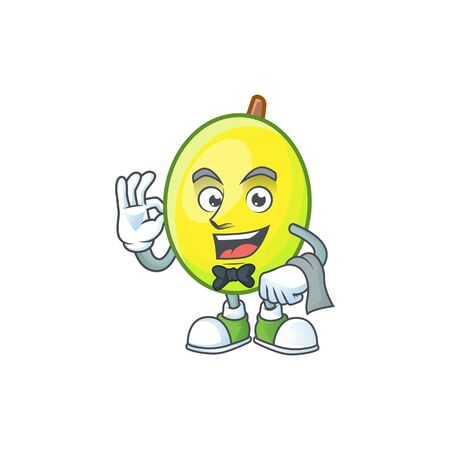 Waiter gomotega fruit healthy in cartoon mascot