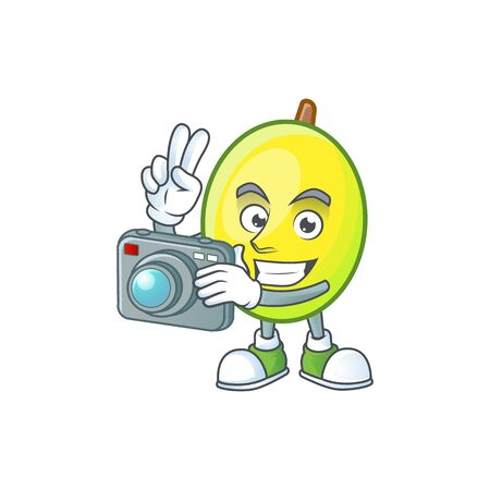 Photographer gomotega fruit healthy in cartoon mascot