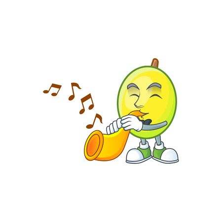 With trumpet gomotega fruit healthy in cartoon mascot