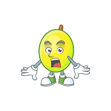 Surprised gomotega fruit healthy in cartoon mascot