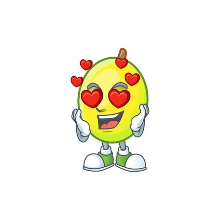 In love gomotega fruit healthy in cartoon mascot