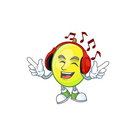 Listening music gomotega fruit healthy in cartoon mascot  イラスト・ベクター素材