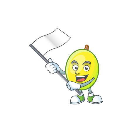With flag gomortega fruit cartoon character mascot style.