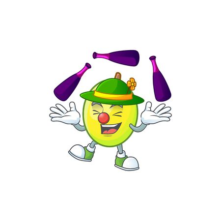 Juggling gomortega fruit cartoon character mascot style.