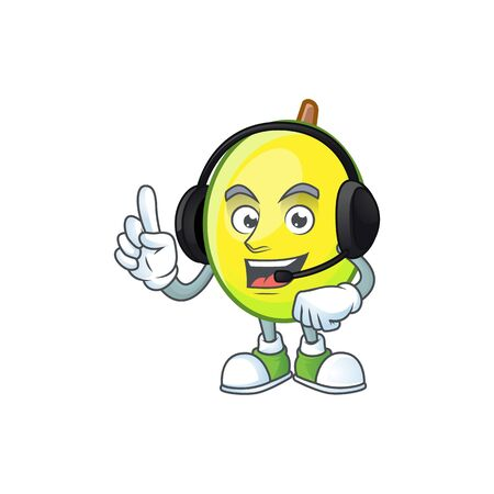 With headphone gomortega fruit cartoon character mascot style.