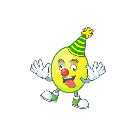 Clown gomortega fruit cartoon character mascot style.  イラスト・ベクター素材