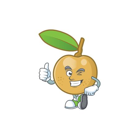 Thumbs up cute longan fruit cartoon with character mascot. Ilustrace