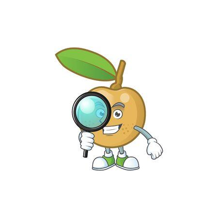 Detective cute longan fruit cartoon with character mascot.