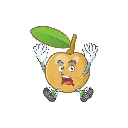 Scream cute longan fruit cartoon with character mascot. Çizim