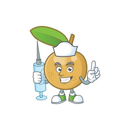 Nurse cute longan fruit cartoon with character mascot. Imagens - 130074313
