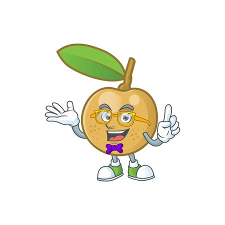 Geek cute longan fruit cartoon with character mascot. 向量圖像