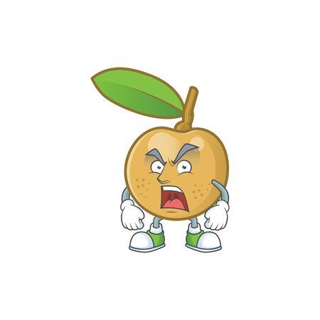 Angry fresh longan cartoon on white background