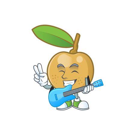 With guitar fresh longan cartoon on white background