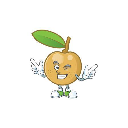 Wink cute longan fruit cartoon with character mascot.