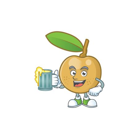 With juice fresh longan cartoon on white background Ilustração