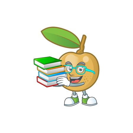 Student with book longan fresh cartoon for dessert delicious.