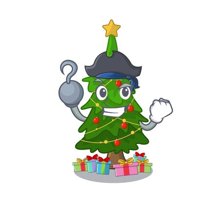 Pirate christmas tree cartoon shape a character vector illustration