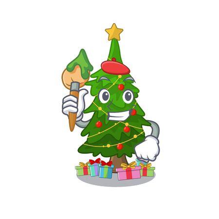 Artist christmas tree cartoon shape a character vector illustration Ilustrace