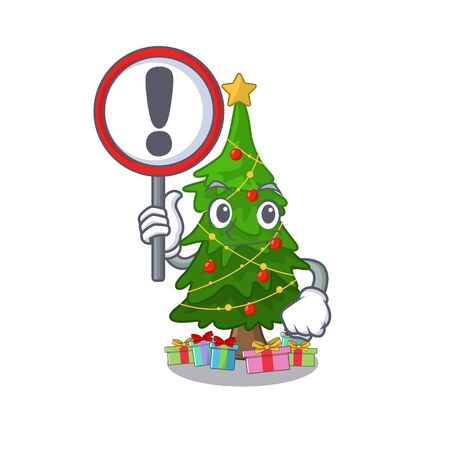 With sign christmas tree cartoon shape a character vector illustration