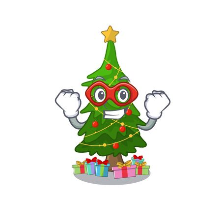 Super hero christmas tree isolated with the mascot vector illustration