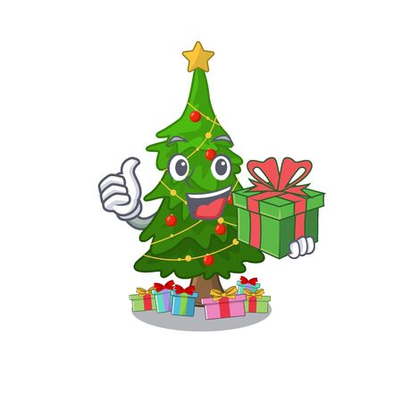 With gift christmas tree next to cartoon table vector illustration Stock Illustratie
