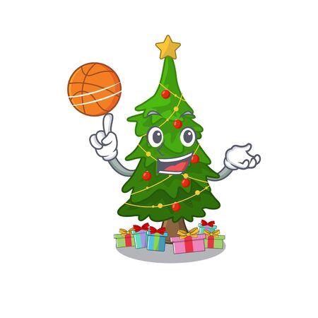 With basketball christmas tree cartoon shape a character vector illustration Ilustração