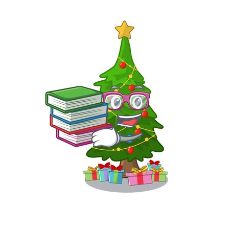 Student with book christmas tree toy shaped a character vector illustration