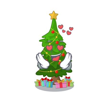 In love christmas tree next to cartoon table vector illustration