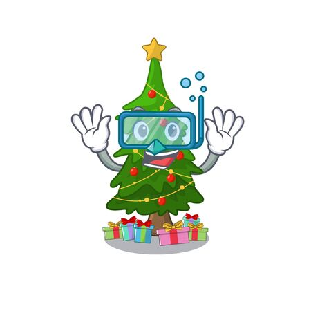Diving christmas tree isolated with the mascot vector illustration