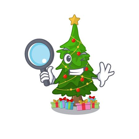 Detective christmas tree isolated with the mascot vector illustration