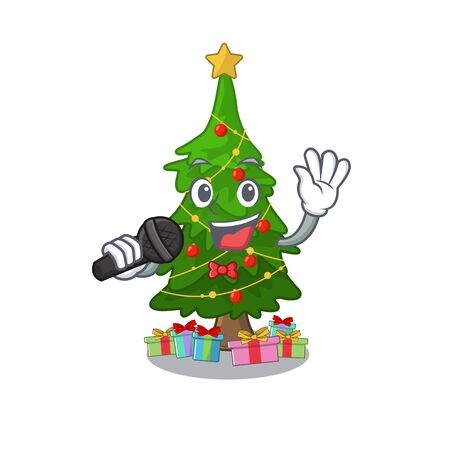 Singing christmas tree next to cartoon table vector illustration