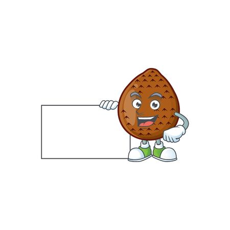 Thumbs up with board salak fruit cartoon character with mascot