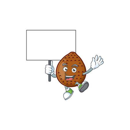 Bring board salak fruit cartoon character with mascot 일러스트