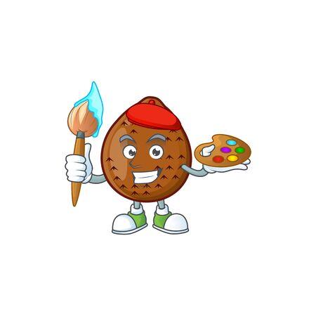 Painter salak fruit cartoon character with mascot