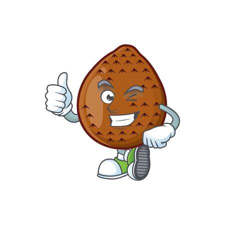 Thumbs up sweet salak cartoon with character mascot