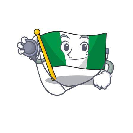 Doctor nigeria flag flew at mascot pole vector illustration