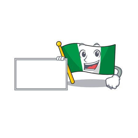 With board nigeria flag flew at mascot pole vector illustration