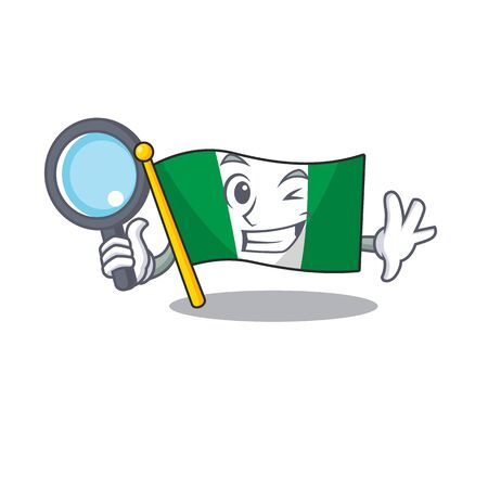 Detective flag nigeria isolated in the character vector illustration Illusztráció
