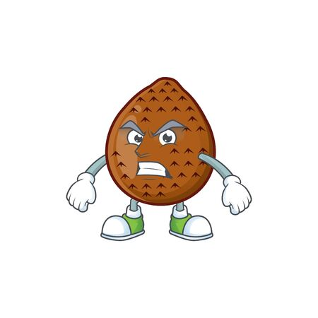 Angry sweet salak cartoon with character mascot Ilustração