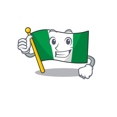 Thumbs up flag nigeria isolated in the character vector illustration
