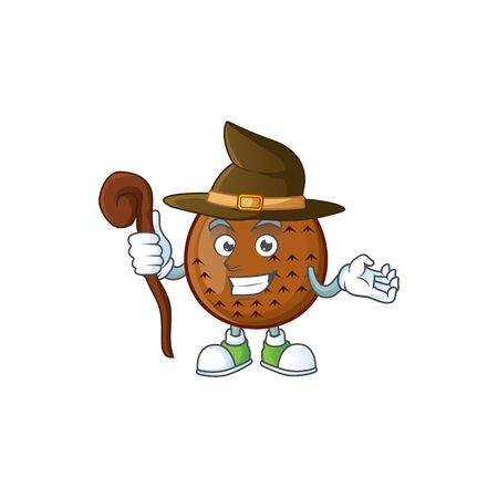 Witch fresh salak mascot for food healthy vector illustration 일러스트
