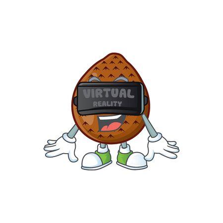Virtual reality fresh salak mascot for food healthy vector illustration