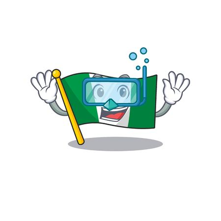 Diving flag nigeria isolated in the character vector illustration