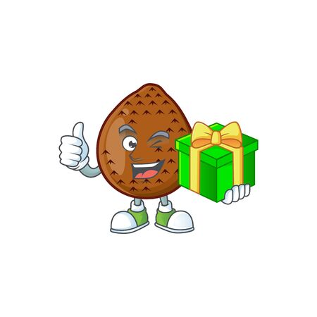 With gift fresh salak mascot for food healthy vector illustration