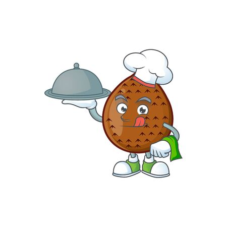 Chef with food fresh salak mascot for food healthy vector illustration Ilustração