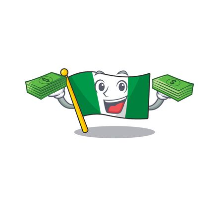 With money bag flag nigeria mascot shaped a cartoon vector illustration