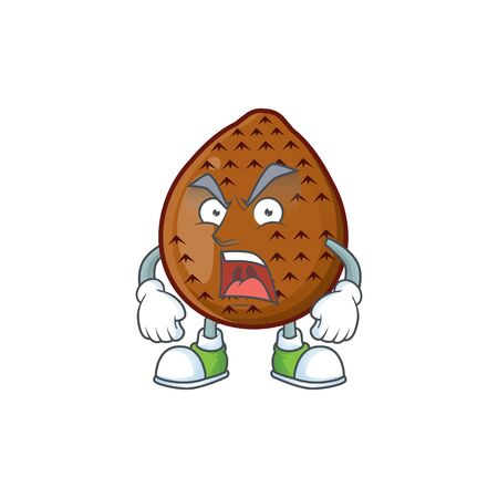 Angry fresh salak mascot for food healthy vector illustration