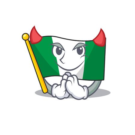 Devil flag nigeria mascot shaped a cartoon vector illustration