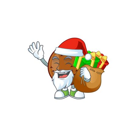 Santa with gift salak fruit character on white background vector illustration