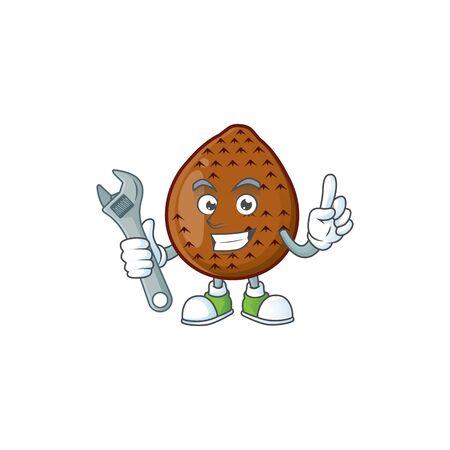 Mechanic salak fruit character on white background vector illustration